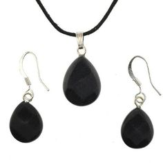 Black Jasper Faceted Pear Shaped Pendant and Earrings Set - Pendant - 13x17mm…