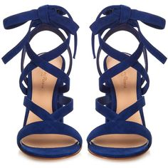 Gianvito Rossi Janis suede sandals ($733) ❤ liked on Polyvore featuring shoes, sandals, special occasion sandals, special occasion shoes, embellished sandals, ankle wrap sandals and strap sandals