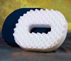 """Foam Donut Cushion - Medium 16"""" Convoluted, firm, supportive foam with a hole in center designed to relieve pressure on the tail bone d... - make as much fun as you want of my donut cushion, but when my tailbone and pelvis were broken, this made it possible to sit and not need as much pain medication."""