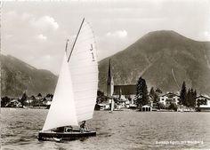 J 345 Hanako II vor Rottach Eggern auf dem Tegernsee  1925 in Riederau am Ammersee aufgelegt und dann bis 1933 dort beim Ammersee YC beheimatet.  Photographie E.Feldbauer Gelaufen 1966