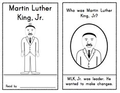MLK Jr. Reader for Kindergarten/First Grade; Social Studies: 8 pages. $