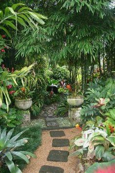 Top Tropical Backyard Garden Ideas - Tropical Garden is very popular garden style in Asia. The highlight of this garden is the refreshin - Bali Garden, Balinese Garden, Diy Garden, Shade Garden, Dream Garden, Garden Paths, Garden Ideas, Backyard Ideas, Balinese Decor