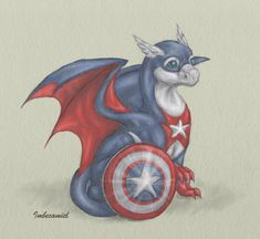 Baby Captain America Dragon by Imbecamiel.deviantart.com on @deviantART