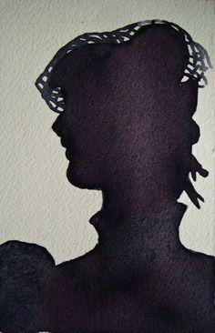 Original, one of a kind watercolour painting, dark, shadow portait. Fantasy Women, Watercolour Painting, Silhouettes, Original Paintings, The Originals, Dark, Vintage, Silhouette, Vintage Comics