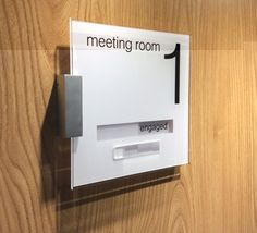 Sliding Door Sign For A Meeting Room