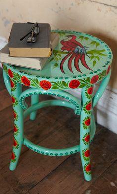 Aqua Painted Stool - Plümo Ltd