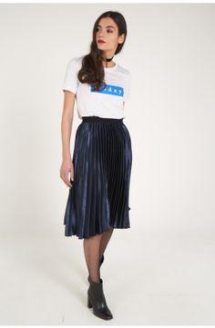 Louche Kamea Pleated Satin Midi Skirt