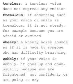 Words to Describe Someones Voice