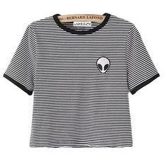 Teen Girls Cute Alien Crop Top Women Slim Tees Short Sleeve T-Shirt