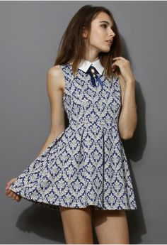 Baroque Print Dress with Contrast Collar - sale - Retro, Indie and Unique Fashion
