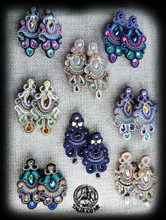 Soutache earrings by caricatalia on DeviantArt Beaded Earrings, Earrings Handmade, Beaded Jewelry, Handmade Jewelry, Fabric Jewelry, Clay Jewelry, Jewelry Crafts, Soutache Tutorial, Soutache Necklace