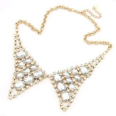 Korean Hollow-out Style Rhinestones Inlaid Fake Collar Necklace - Transparent