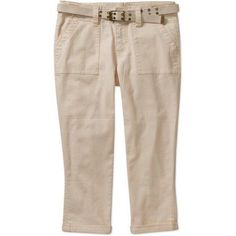 Faded Glory Women's Belted Twill Cargo Capris with Pork Chop Pockets, Size: 18, Beige