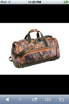Camo and orange under armour duffle bag