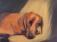 """""""Dachshund Archibald /40 W × 30 H/"""" by Nata Zaikina. Oil painting on Canvas, Subject: Animals and birds, Unspecified style, One of a kind artwork, Signed on the front, This artwork is sold unframed, Size: 40 x 30 x 2 cm (unframed), 15.75 x 11.81 x 0.79 in (unframed), Materials: Oil"""