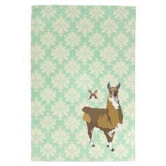 Golddust Llama & Butterfly Mint Julep Damask MoJo  Kitchen Towels