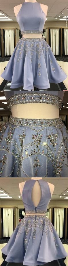 Two Piece Homecoming Dress Rhinestone Scoop Chic Short Prom Dress Party Dress JK459 #