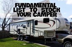 Fundamental list to stock your camper. Great list for new RV owners or others l… Fundamental list to stock your camper. Great list for new RV owners or others looking to get ideas on what to keep in their camper to make their trips easier. Camping Essentials List, Rv Camping Checklist, Rv Camping Tips, Travel Trailer Camping, Camping Needs, Rv Travel, Camping Life, Rv Life, Camping Stuff
