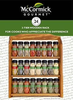 McCormick Gourmet Spice Rack, Three Tier Wood, 24-Count  McCormick Gourmet's Wood Spice Rack features 24 of our highest quality herbs and spices, including: Ancho Chile Pepper, Basil Leaves, Bay Leaves (Turkish), Cayenne Pepper, Chili Powder, Cinnamon (ground Saigon), Chipotle Chile Pepper, Cumin (ground), Curry Powder, Dill Weed, Garam Masala, Garlic Powder, Ginger (ground), Italian Seasoning, Marjoram, Mediterranean Oregano Leaves, Mustard (ground), Nutmeg (ground), Parsley (flat l..