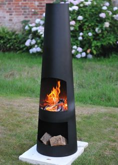 Buy Contemporary steel chiminea circo: Delivery by Waitrose Garden in association with Crocus Outdoor Fire, Outdoor Living, Outdoor Decor, Chiminea Fire Pit, Metal Chiminea, Fire Pit Ring, Metal Fire Pit, Fire Pit Designs, Small Gardens