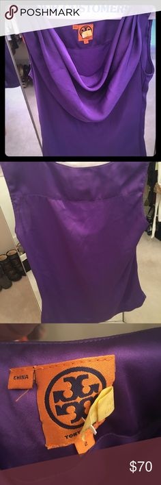 Tory burch sleeveless shirt Just had dry cleaned, good condition Tory burch purple shirt Tory Burch Tops Blouses