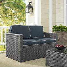 2 Piece Outdoor Patio Furniture Set With Loveseat And Glass Top Table  $516.88 | Patio Furniture Sets | Pinterest | Outdoor Patios, Tops And  Loveseats