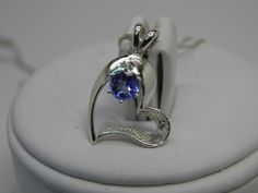 SO pretty!  #HEART for her, new 925 Sterling Silver heart pendant necklace w/Natural Blue Tanzanite ~ .40ct ~ 5mm Round