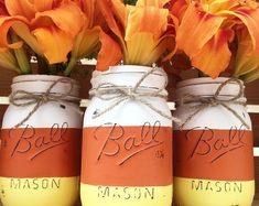 Candy corn mason jar trio fall home decor, fall centerpiece, mantle, hallow Mason Jar Pumpkin, Fall Mason Jars, Mason Jar Diy, Mason Jar Projects, Mason Jar Crafts, Bottle Crafts, Candy Corn, Fall Candy, Halloween Mason Jars