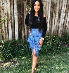 Top Shweshwe and jeans, shweshwe gown and shweshwe shirts in South Africa - Reny styles Seshweshwe Dresses, Trends, All Fashion, Elegant, Traditional Dresses, Outfit, South Africa, Casual Shirts, Lace Skirt