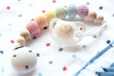 Pastel rainbow baby pacifier clip / Elegant and stylish /