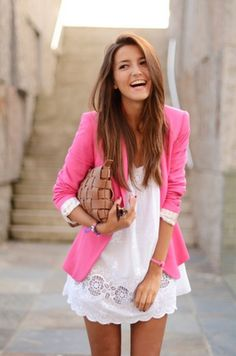 gotta have this outfit. white dress & pink blazer. love the tan clutch!