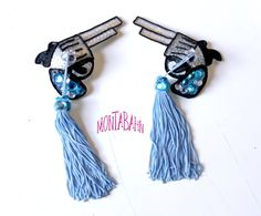 Burlesque Pasties Cowboy Gun Pistol Bullet Western Shoot Blue Sequin Nipple Tassels KIT. $45.00, via Etsy.