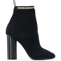 Salvatore Ferragamo logo printed sock boots ($735) ❤ liked on Polyvore featuring shoes, boots, black block heel boots, logo boots, black shoes, sock boots and black boots