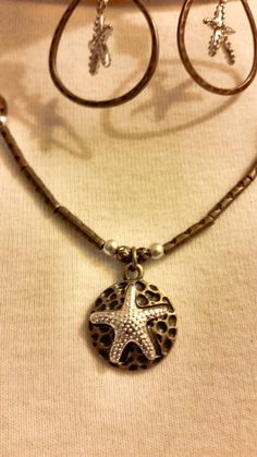 Bronze and Silver Starfish Necklace and Earrings Set - Beach Jewelry Set - Fashion Jewelry