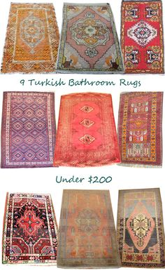 Design Manifest bathroom rug roundup. I love the traditional rug in fun untraditional colors. I would like to find a long runner like these for the hallway.