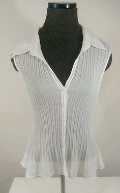 Allison Taylor Scrunched Button Front Sleeveless Blouse Shirt Top Size XL