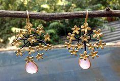 Sterling 925 silver rose quartz flower earrings Flower Earrings, Drop Earrings, Silver Roses, Rose Quartz, 925 Silver, Jewellery, Flowers, Jewels, Pink Quartz