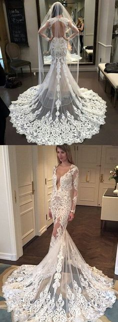 white lace wedding dress, long sleeves wedding dress, mermaid long wedding dress, sexy long bridal gown