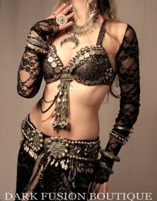 Costume inspiration. Click on the link to see more views. The lace top is separate from the bra. Use circle rings to connect bra with straps.