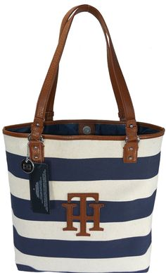 Tommy Hilfiger Women TH Logo Handbag Tote Navy Blue/Ivory    Price:	$89.00