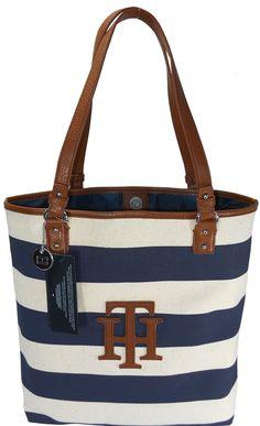 Tommy Hilfiger Women TH Logo Handbag Tote Navy Blue/Ivory    Price:$89.00