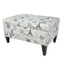 MJL Furniture Brooklyn Upholstered French Square Legged Box Storage Ottoman