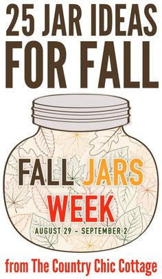 Get 25 jar ideas for fall here! Great ideas using mason jars and more! - Home Decor Fall Mason Jars, Mason Jar Meals, Mason Jar Gifts, Mason Jar Diy, Mason Jar Vases, Canning Jars, Autumn Crafts, Thanksgiving Crafts, Jar Crafts