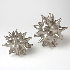 "Matte Silver Urchin new in the shop today! 7"" x 7"" ceramic so cute  www.zhush.com  $25.00"