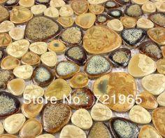 Glazed porcelain wall tiles pebble mosaic kitchen backsplash tile PPMT060 bathroom floor tile free shipping $205.42
