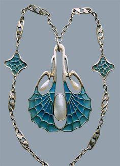 Adolf Mayer Silver pendant, art nouveau jewelry