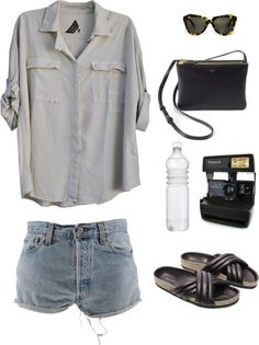 Casual beach look. I love Everything but the Jesus sandals. Denim shorts, light button up.