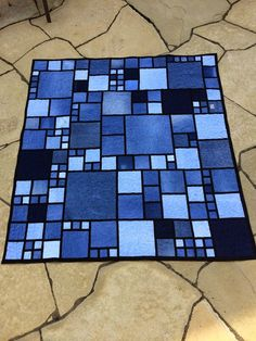 Denim quilt with black sashing. Love the blue to black contrast