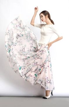 ffcd96cd46ed Maxi skirt, chiffon skirt, womens skirts, floral skirt, summer skirt, long  skirt, flare skirt, elastic skirt, flower skirt, loose skirt C486