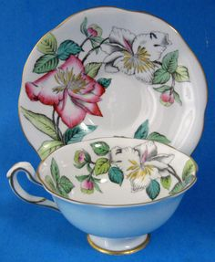 Rosina Cup Saucer Lilies Hand Painted Artist Signed A. Bentley 1930s English Bone China